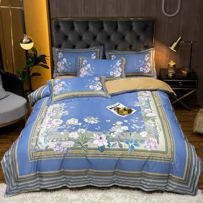 2021新款江南丝绸大版四件套 1.8m床单款四件套 繁花簇簇-兰