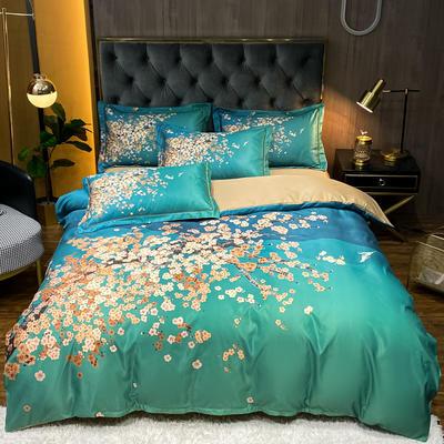 2021新款江南丝绸大版四件套 1.8m床单款四件套 风花雪月-绿