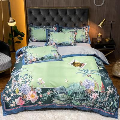 2021新款江南丝绸大版四件套 1.8m床单款四件套 风浦-深绿