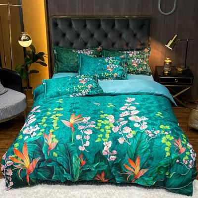 2021新款江南丝绸大版四件套 1.8m床单款四件套 鸟语花香-绿