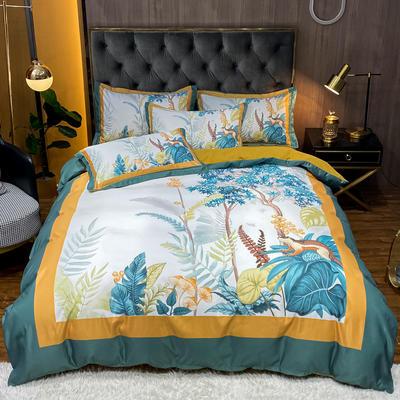 2021新款江南丝绸大版四件套 1.8m床单款四件套 小松鼠-白