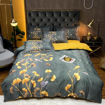 2021新款江南丝绸大版四件套 1.8m床单款四件套 银杏叶-绿