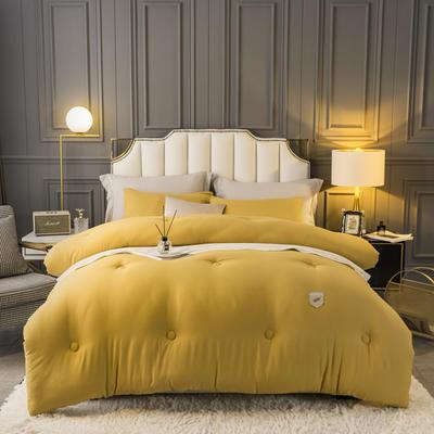 2021新款水洗棉织标雅柔冬被被子被芯 150x200cm4斤 橄榄黄
