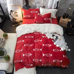 宝宝绒&羊羔绒系列四件套 标准1.5m-1.8m床 深海魅影-红