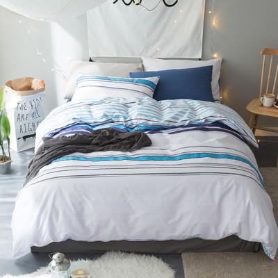 新款13376全棉四件套--条纹简约风 小号 哥斯拉(蓝)