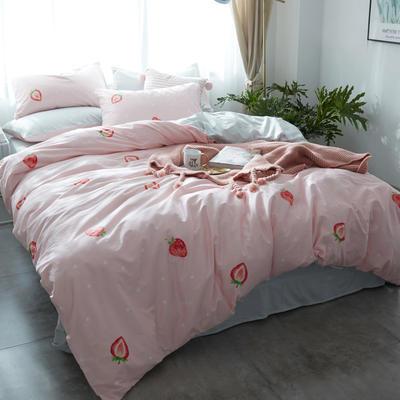 雅居纺全棉-宜家小清新-新花色 小号床单款(1.2m床) 布丁草莓 专版花色