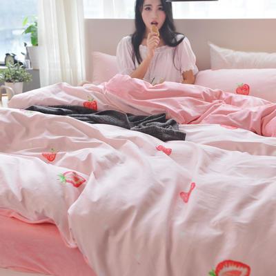 2017新款棉绒四件套 小号1.2m-1.35m床 棉绒 布丁草莓