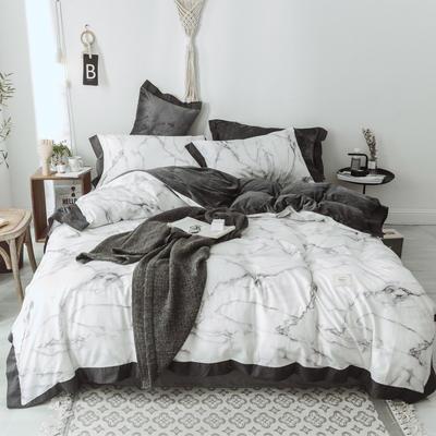 2018新款-宽边款棉加水晶绒四件套 床笠款1.5m(5英尺)床 大理石