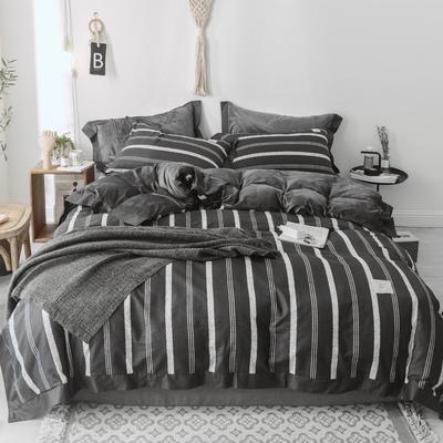 2018新款-宽边款棉加水晶绒四件套 1.8m(6英尺)床 竖条