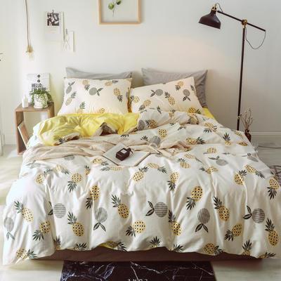 2018新款-棉绒四件套 1.8m(6英尺)床 菠萝