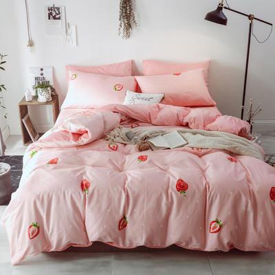 2018新款-棉绒四件套 1.8m(6英尺)床 布丁草莓