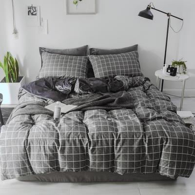 2018新款-棉绒四件套 1.8m(6英尺)床 格调黑