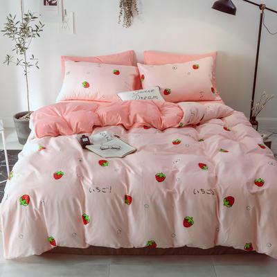 2018新款-棉绒四件套 1.8m(6英尺)床 甜心草莓