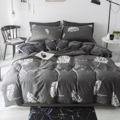2018新款-棉绒四件套 1.8m(6英尺)床 叶叶深情