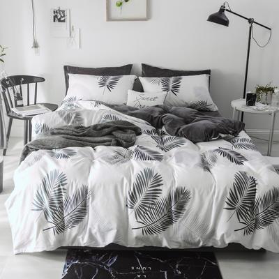 2018新款-棉绒四件套 1.8m(6英尺)床 羽叶