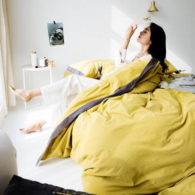 2019新款-宽边水洗棉四件套 三件套1.2m(4英尺)床 霓裳 姜黄