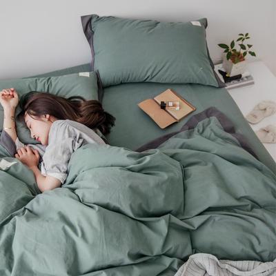 2019新款-宽边水洗棉四件套 三件套1.2m(4英尺)床 霓裳 抹绿