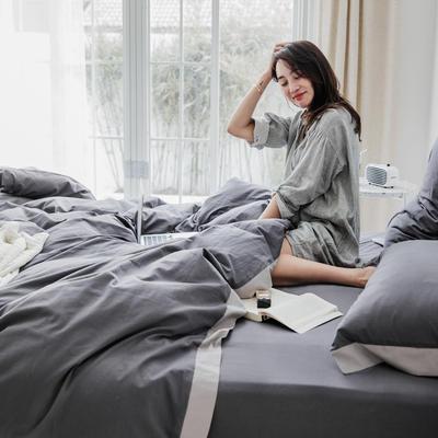 2019新款-宽边水洗棉四件套 三件套1.2m(4英尺)床 霓裳 深灰