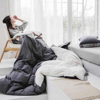 2019新款-宽边水洗棉四件套 三件套1.2m(4英尺)床 霓裳-深灰+白