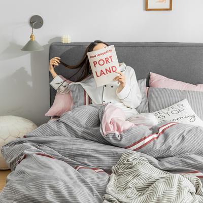2019新款-条格无印四件套 床单款三件套1.2m(4英尺)床 浮生-灰800