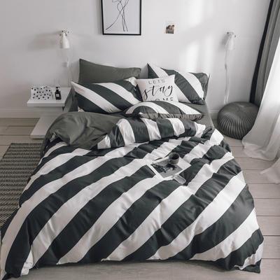 2019新款-条格无印四件套 床单款三件套1.2m(4英尺)床 简尚800