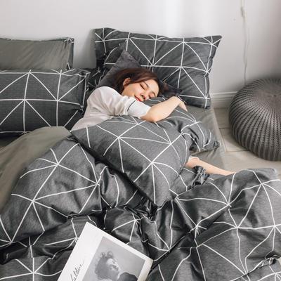2019新款-条格无印四件套 床单款三件套1.2m(4英尺)床 慕尚黑800