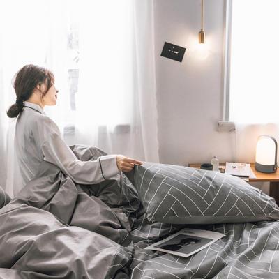 2019新款-条格无印四件套 床单款三件套1.2m(4英尺)床 人字条800