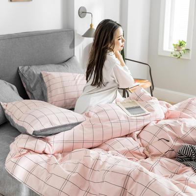 2019新款-条格无印四件套 床单款三件套1.2m(4英尺)床 微雨800