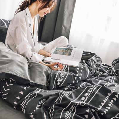 2019新款-条格无印四件套 床单款三件套1.2m(4英尺)床 雅韵800