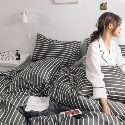 2019新款-条格无印四件套 床单款三件套1.2m(4英尺)床 夜华800