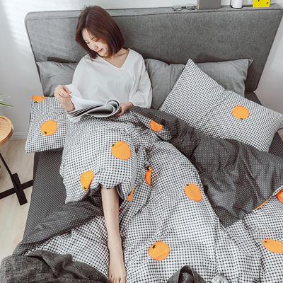 2019新款-小清新四件套 三件套1.2m(4英尺)床 格子橙