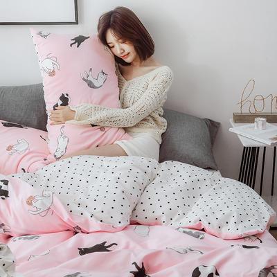 2019新款-小清新四件套 三件套1.2m(4英尺)床 可爱猫咪