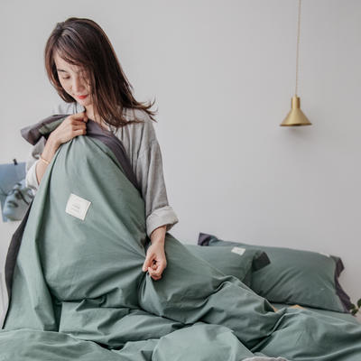2019新款-工艺款宽边全棉水洗棉四件套 三件套1.2m(4英尺)床 霓裳 抹绿