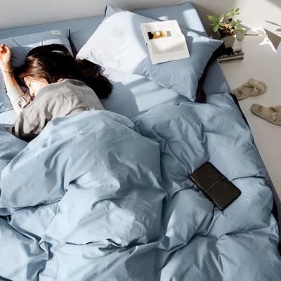 2019新款-工艺款宽边全棉水洗棉四件套 三件套1.2m(4英尺)床 霓裳 浅蓝