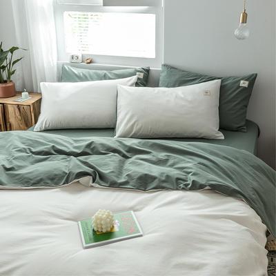 2019新款-全棉水洗棉单品被套 150x200cm 白+墨子绿
