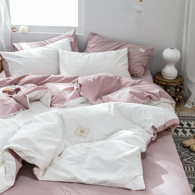 2019新款-全棉水洗棉单品被套 150x200cm 白+绅士红