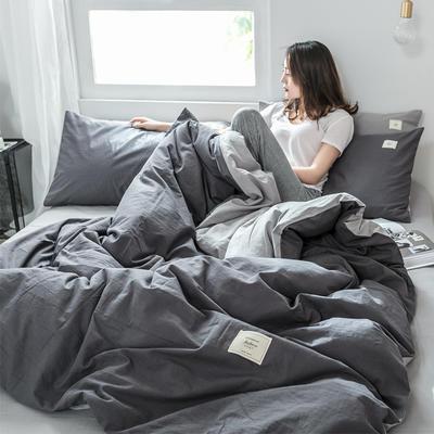 2019新款-全棉水洗棉单品被套 150x200cm 低调灰+绅士灰