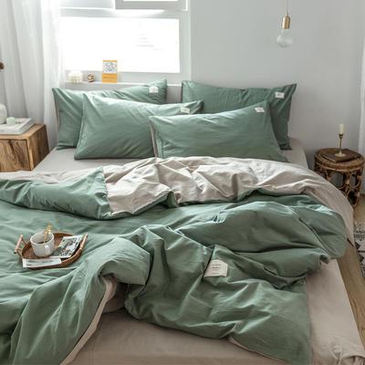 2019新款-全棉水洗棉单品被套 150x200cm 墨子绿+卡其