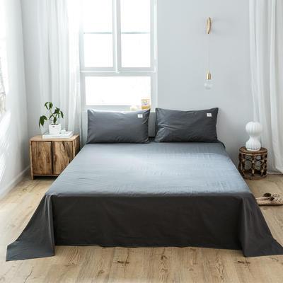 2019新款-全棉水洗棉单品床单 180cmx230cm 低调灰