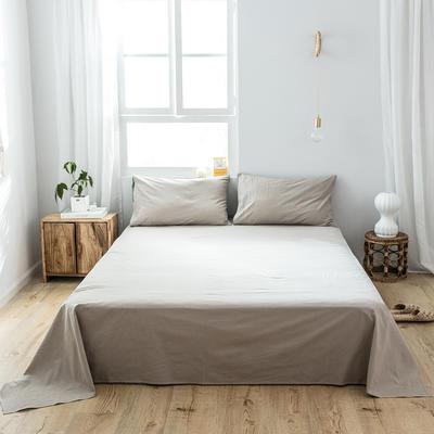 2019新款-全棉水洗棉单品床单 180cmx230cm 卡其