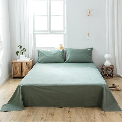 2019新款-全棉水洗棉单品床单 180cmx230cm 墨子绿