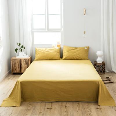 2019新款-全棉水洗棉单品床单 180cmx230cm 绅士黄