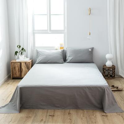 2019新款-全棉水洗棉单品床单 180cmx230cm 绅士灰