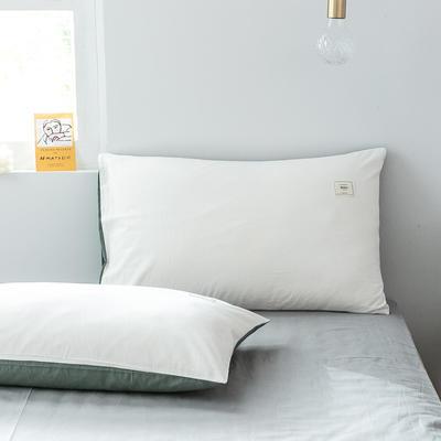 2019新款-全棉水洗棉单品枕套 48cmX74cm/一对 白+墨子绿
