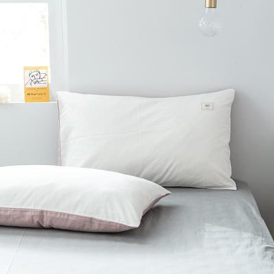 2019新款-全棉水洗棉单品枕套 48cmX74cm/一对 白+绅士红