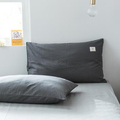 2019新款-全棉水洗棉单品枕套 48cmX74cm/一对 低调灰