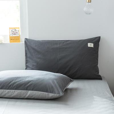 2019新款-全棉水洗棉单品枕套 48cmX74cm/一对 低调灰+绅士灰