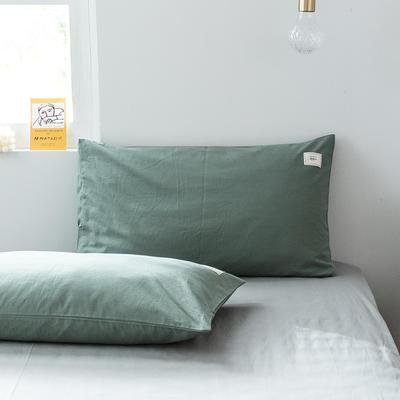 2019新款-全棉水洗棉单品枕套 48cmX74cm/一对 墨子绿