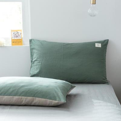 2019新款-全棉水洗棉单品枕套 48cmX74cm/一对 墨子绿+卡其