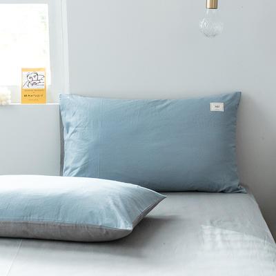 2019新款-全棉水洗棉单品枕套 48cmX74cm/一对 清雅蓝+绅士灰